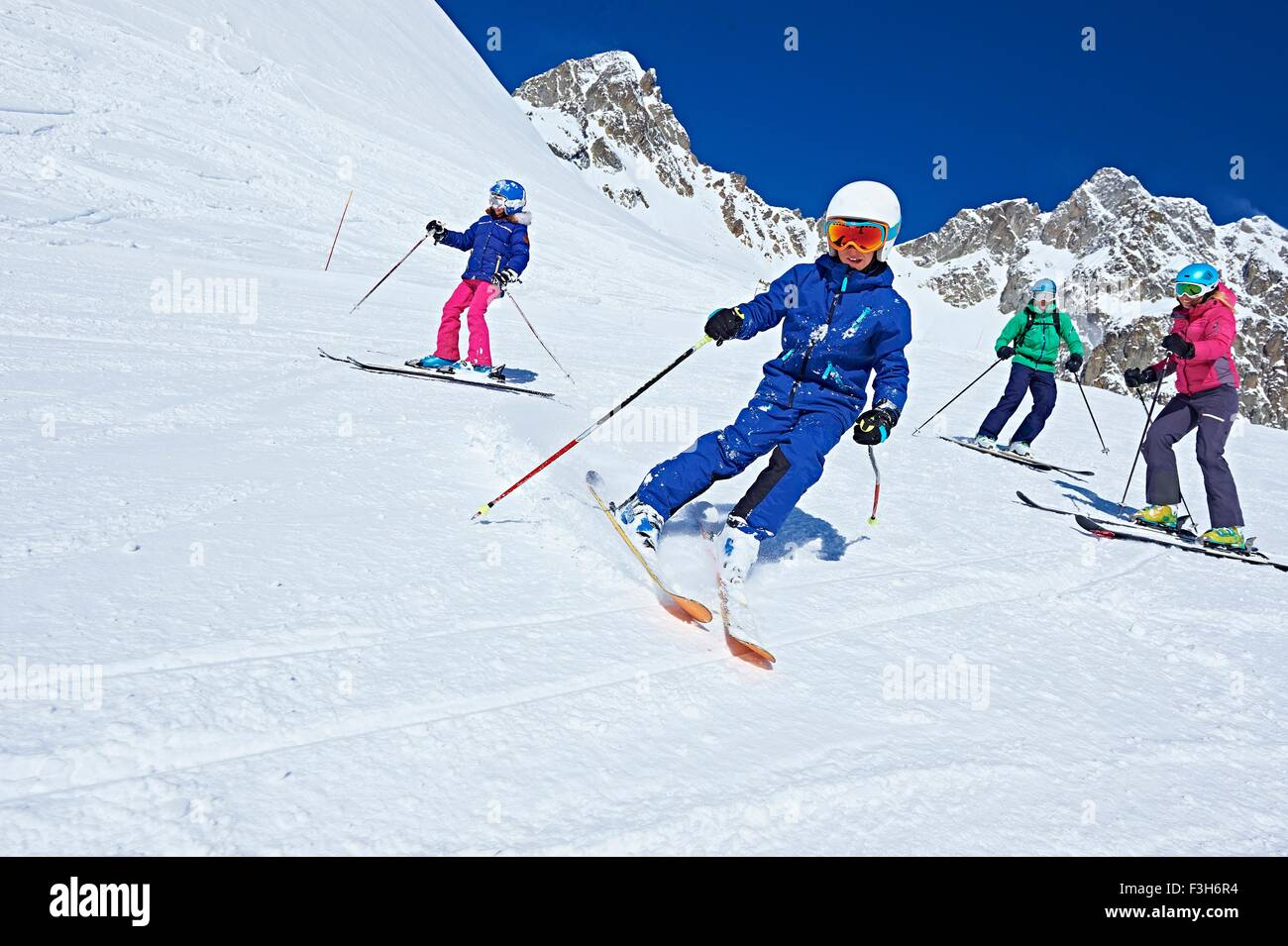 Famille le voyage de ski, Chamonix, France Photo Stock