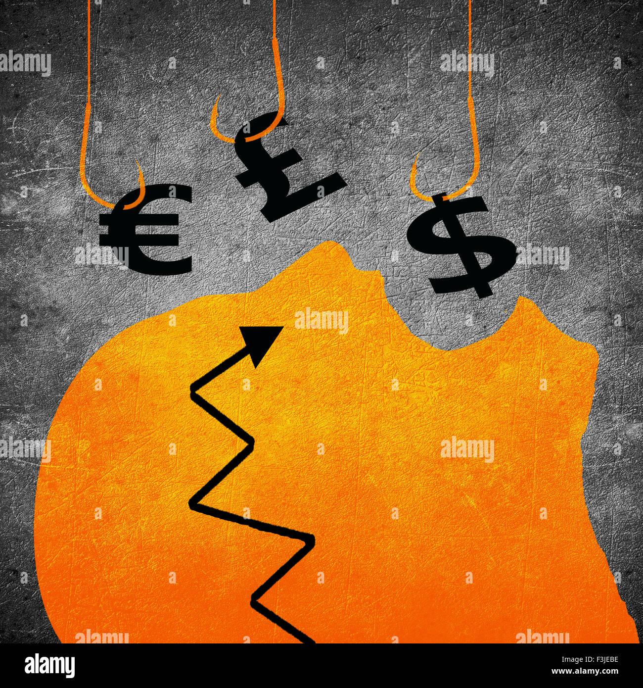 Crochet de pêche et de l'argent numérique illustration du concept d'entreprise de symbole Photo Stock