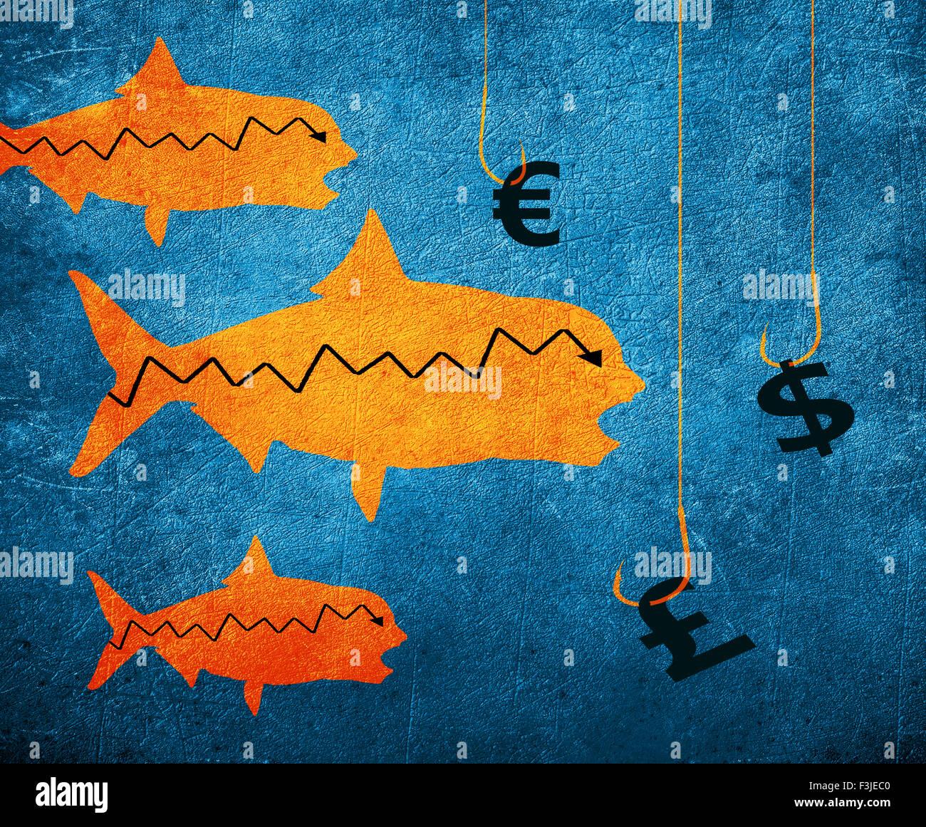 Crochet de pêche de poissons et de l'argent numérique illustration symbole Photo Stock