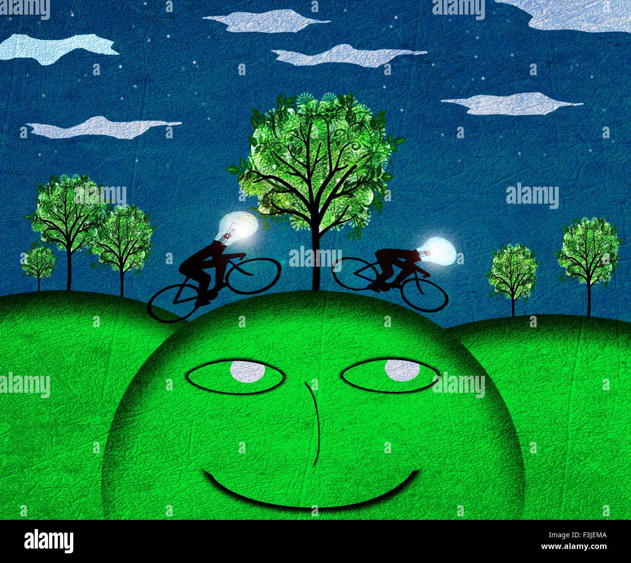 Concept de la créativité numérique illustration paysage nocturne Photo Stock
