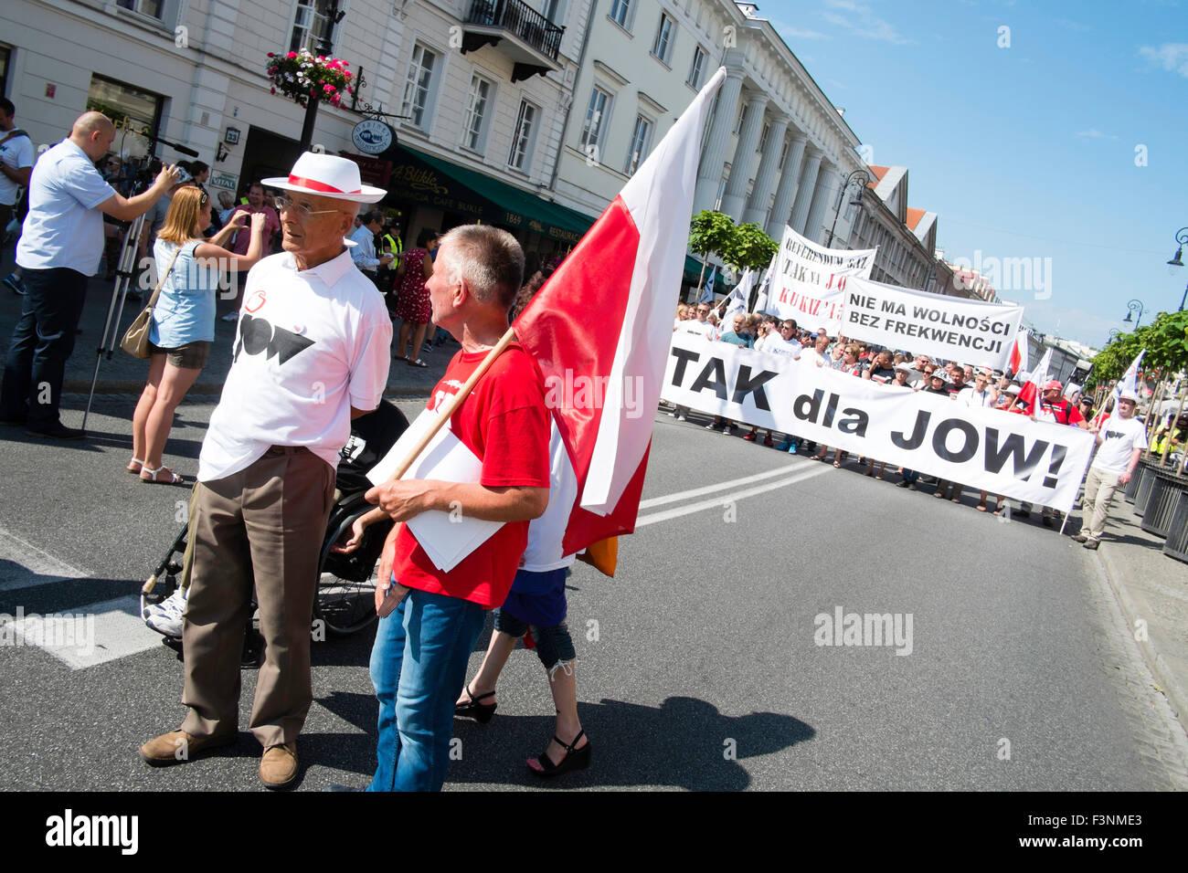 La politique de la Pologne de démonstration mars street Photo Stock
