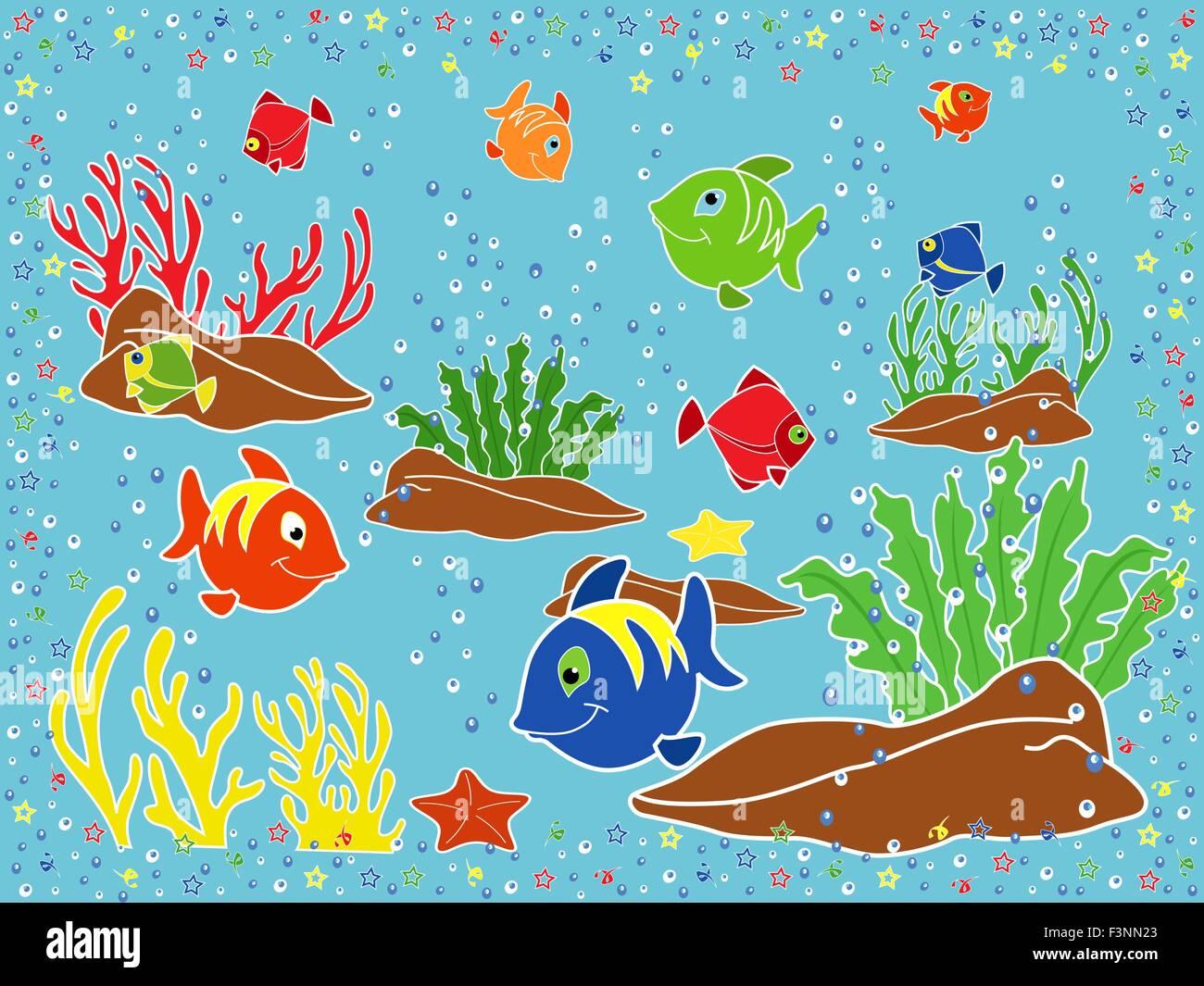 La Vie Marine Sous Marine Poissons Coraux Etoiles De Mer Et Les Algues Sur Le Fond Marin Dessin A La Main Vector Illustration Image Vectorielle Stock Alamy