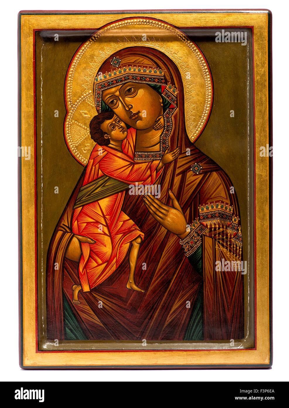 Religieux en bois peint l'icône chrétienne de la Vierge Marie et Jésus Photo Stock