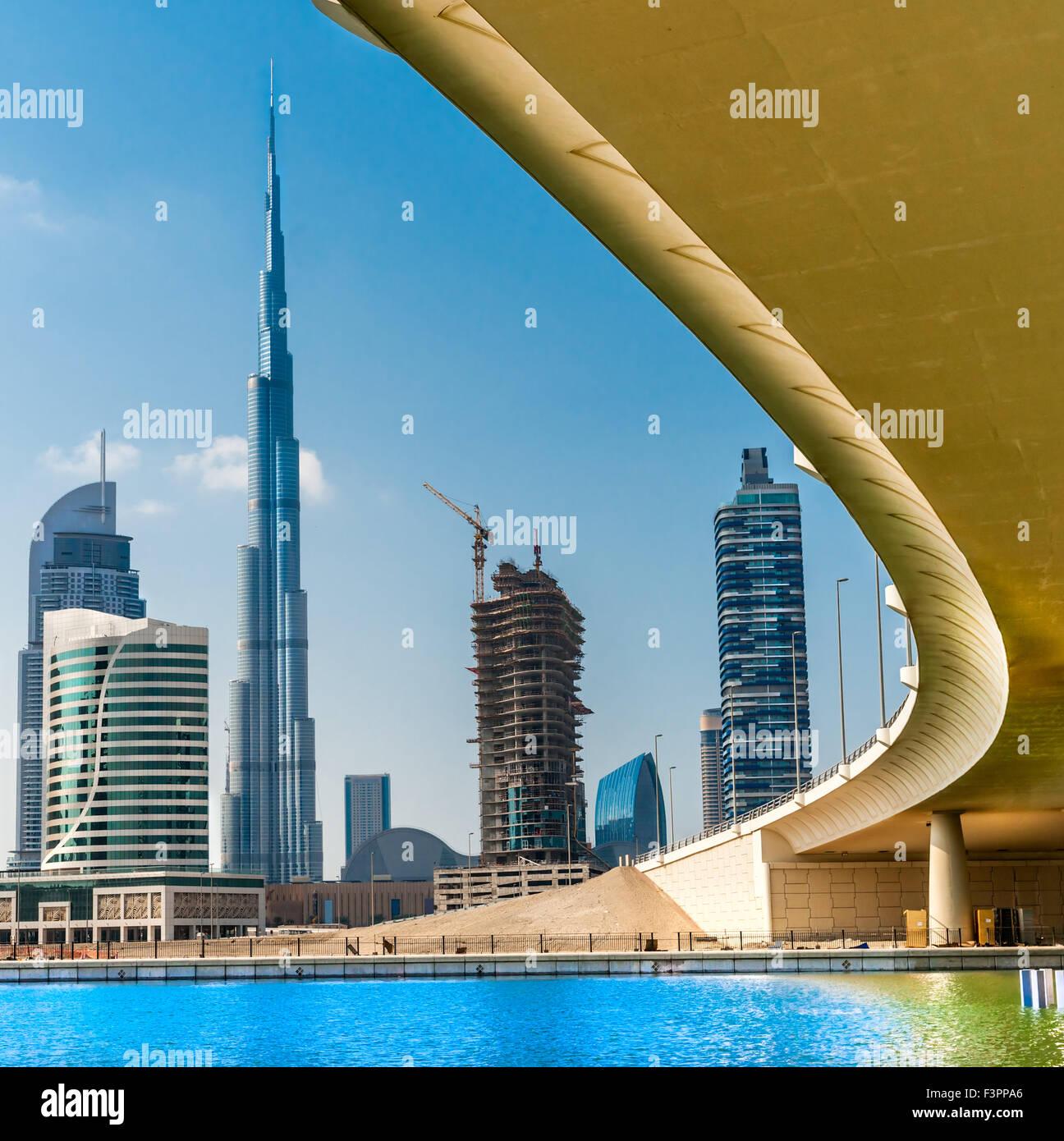 Dubai skyline at Dusk, eau. Photo Stock