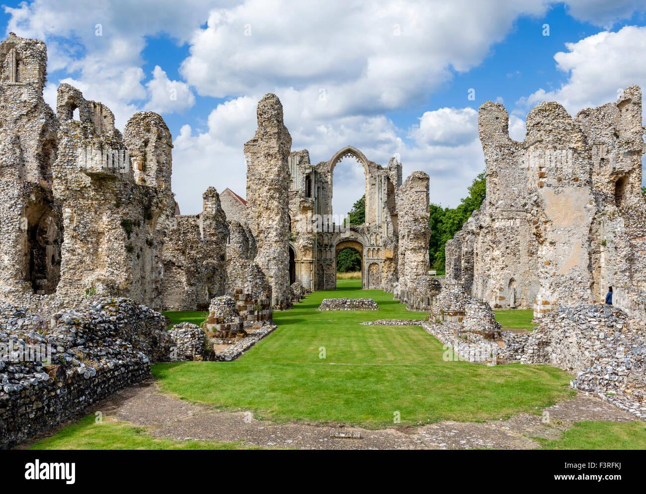 Les ruines de l'église au château d'Acre Prieuré, Château d'Acre, Norfolk, England, Photo Stock