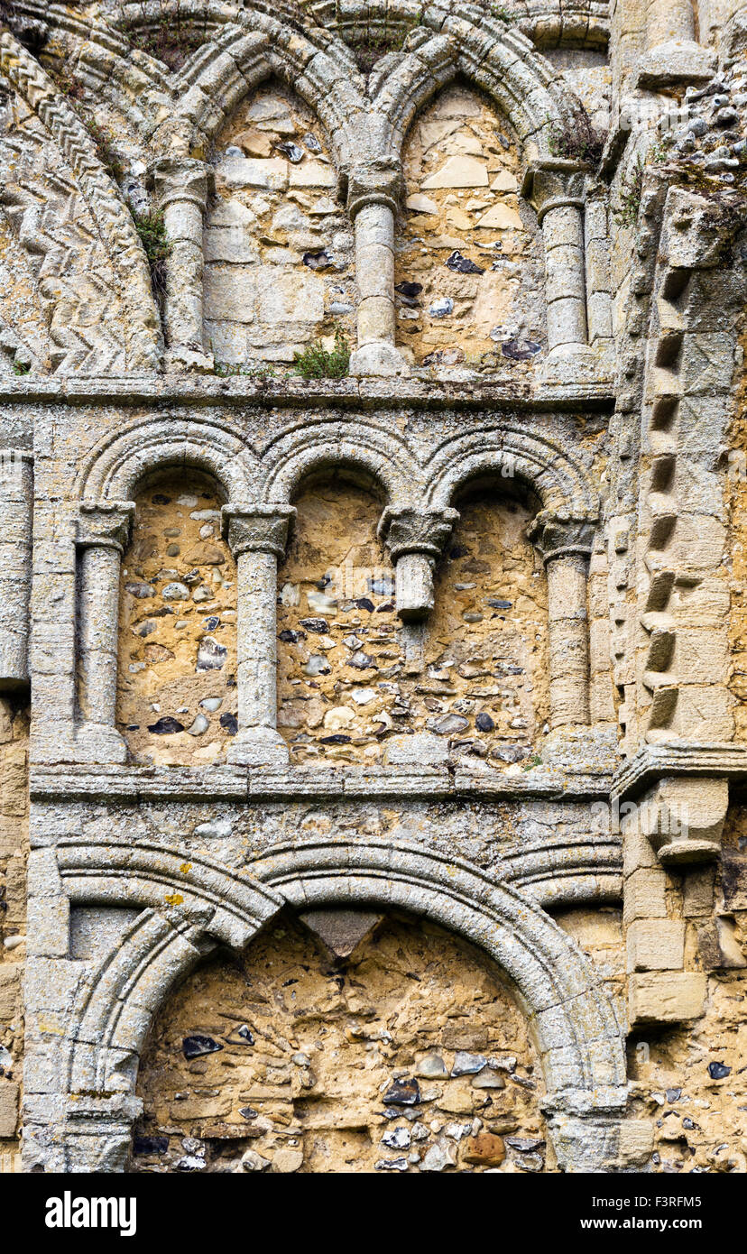 Arcatures décoratives sur les ruines de l'église, château, Château Prieuré Acre Acre, Photo Stock