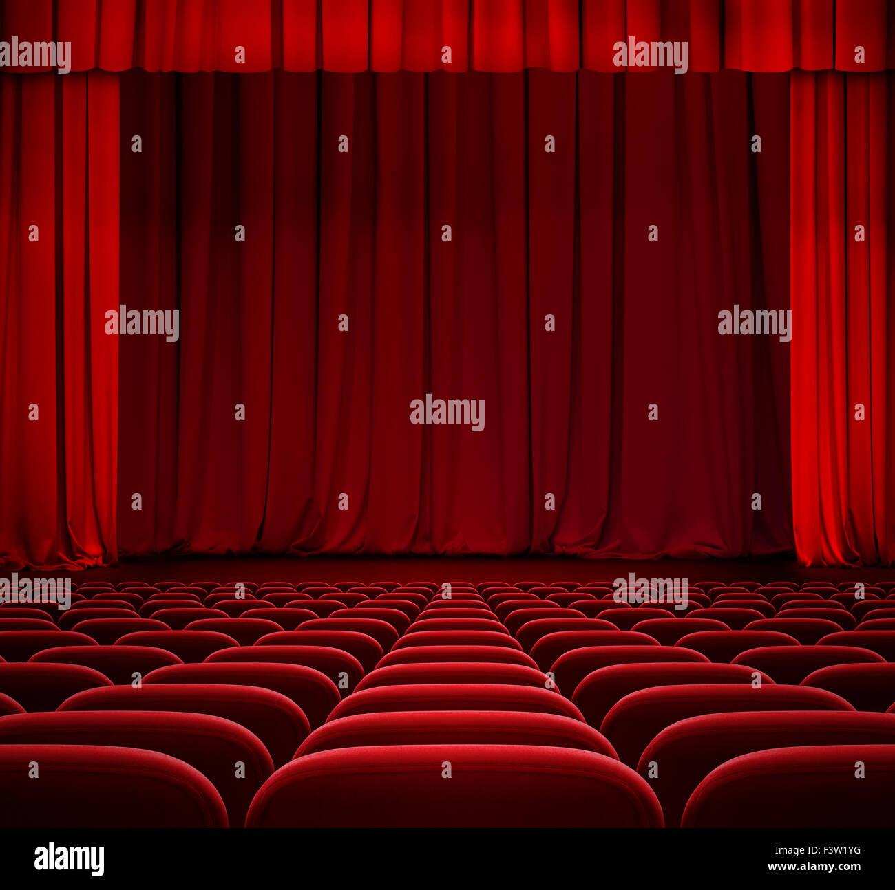 Rideau Rouge Sur Scène De Théâtre Avec Des Sièges En Velours Rouge