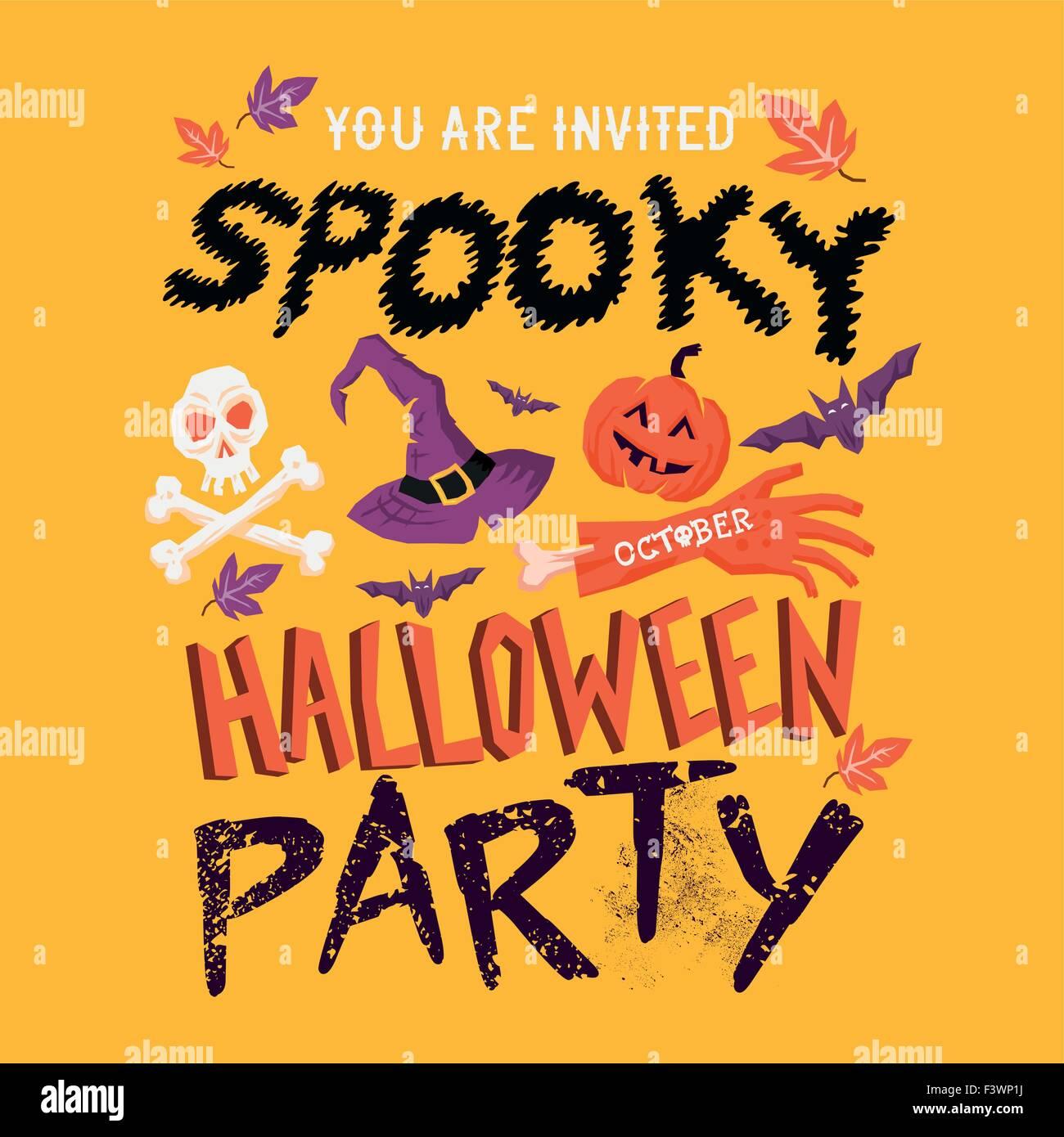 Spooky Halloween party poster design. Joyeux Halloween! Vector illustration Photo Stock