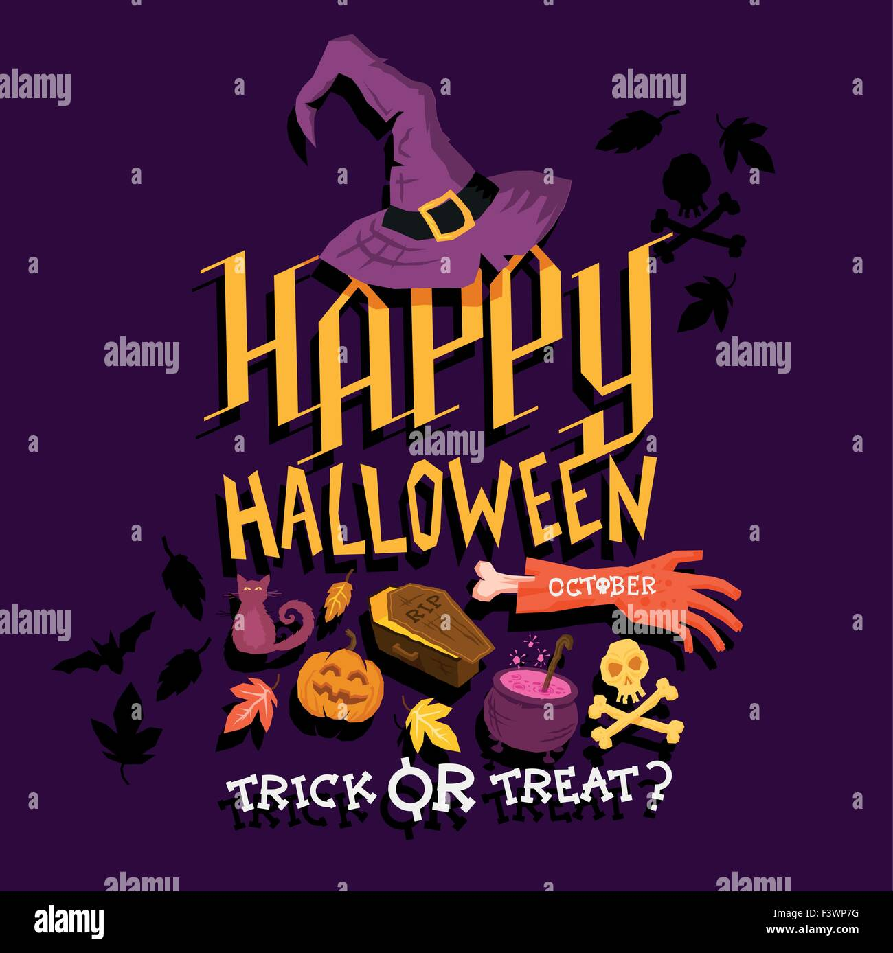 Spooky Halloween party poster design. Joyeux Halloween ! Vector illustration Illustration de Vecteur