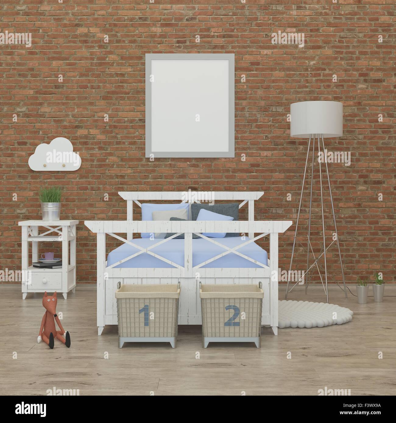 Petite chambre à coucher l'intérieur de l'image de rendu 3D Photo Stock