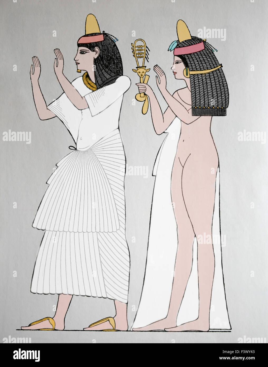 L'antiquité. L'Egypte ancienne. L'homme et de la femme, Dynastie Thèbes. La gravure. 19e siècle. Photo Stock