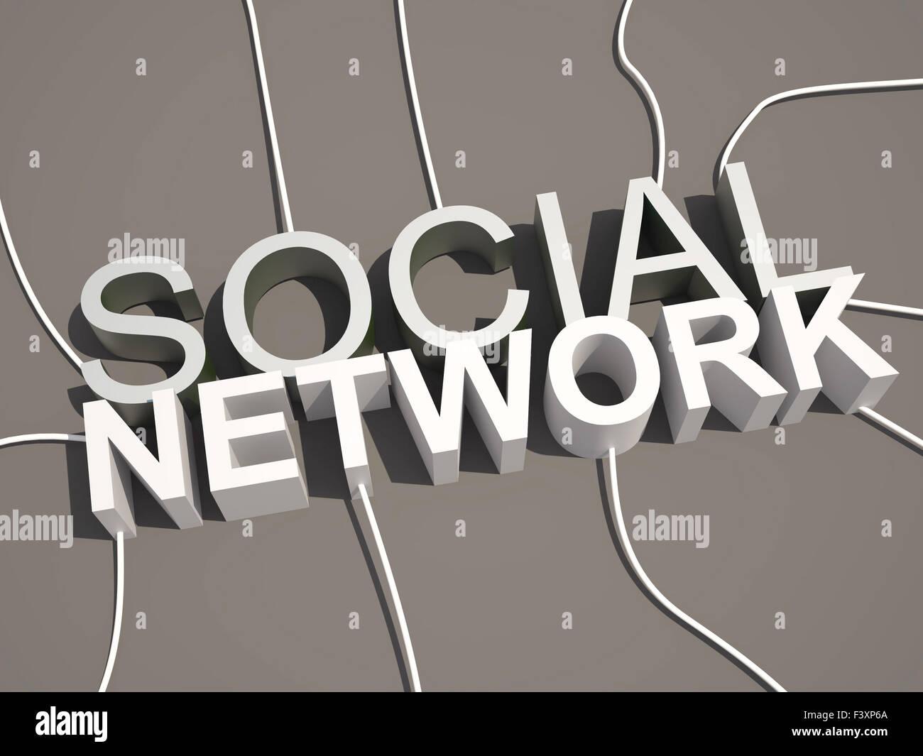 Réseau social 3d concept texte Banque D'Images