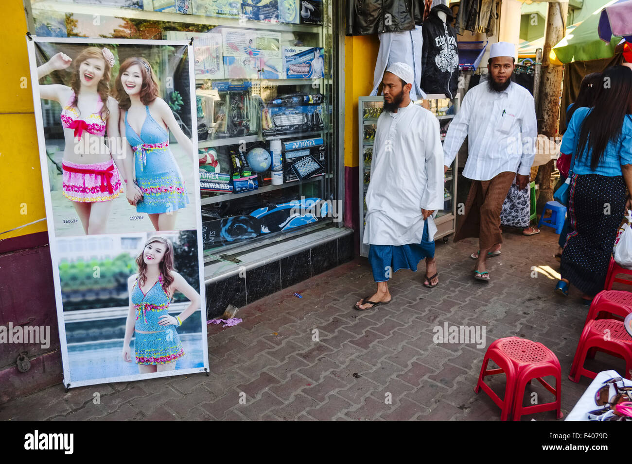Scène de rue à Yangon, Myanmar Banque D'Images