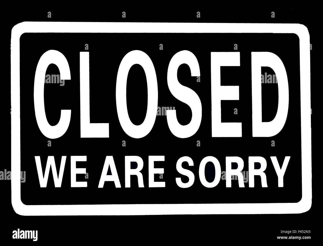 Nous sommes désolés fermé Photo Stock