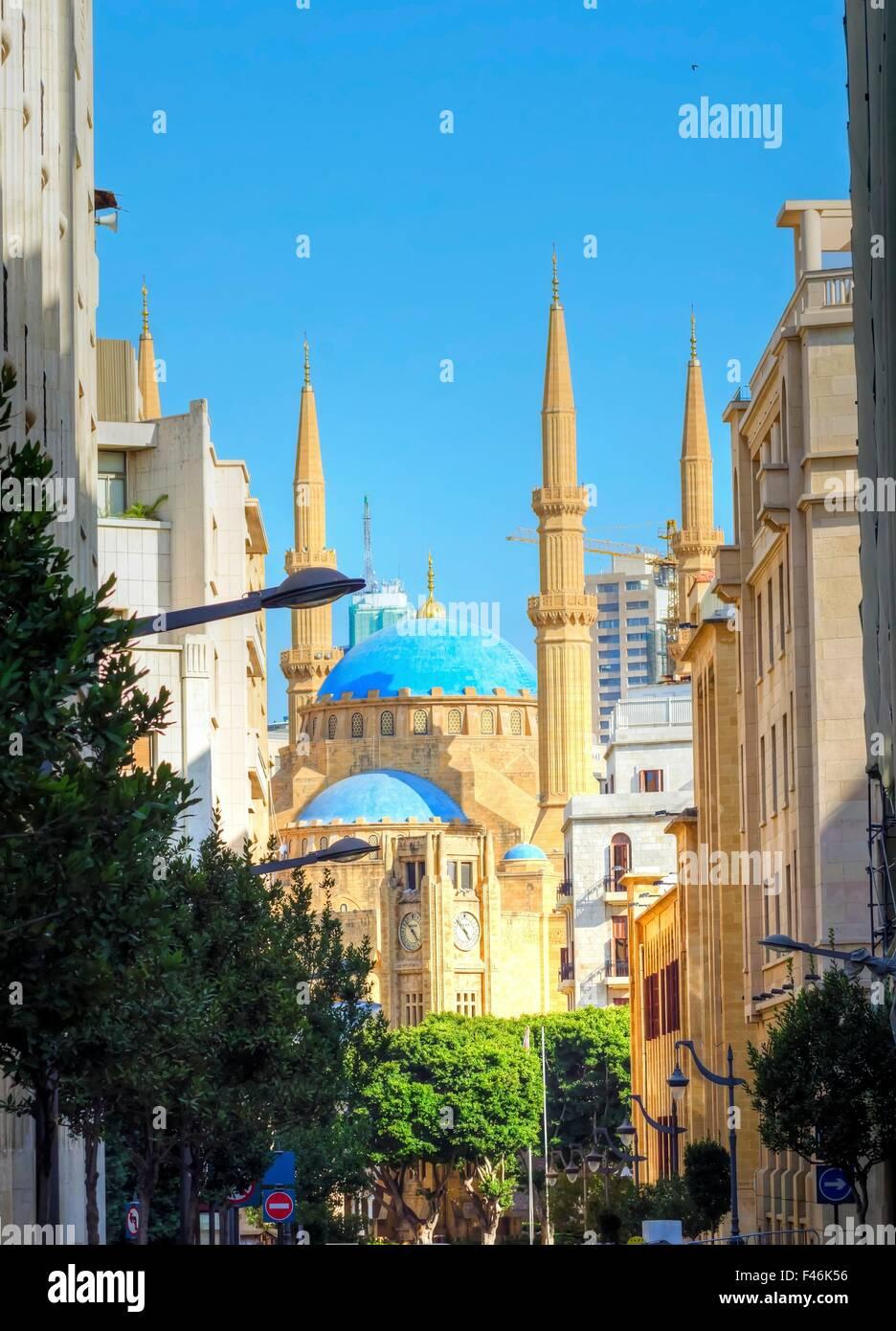 Une vue de la mosquée Mohammad Al-Amin et la tour de l'horloge situé au centre-ville de Beyrouth, Photo Stock