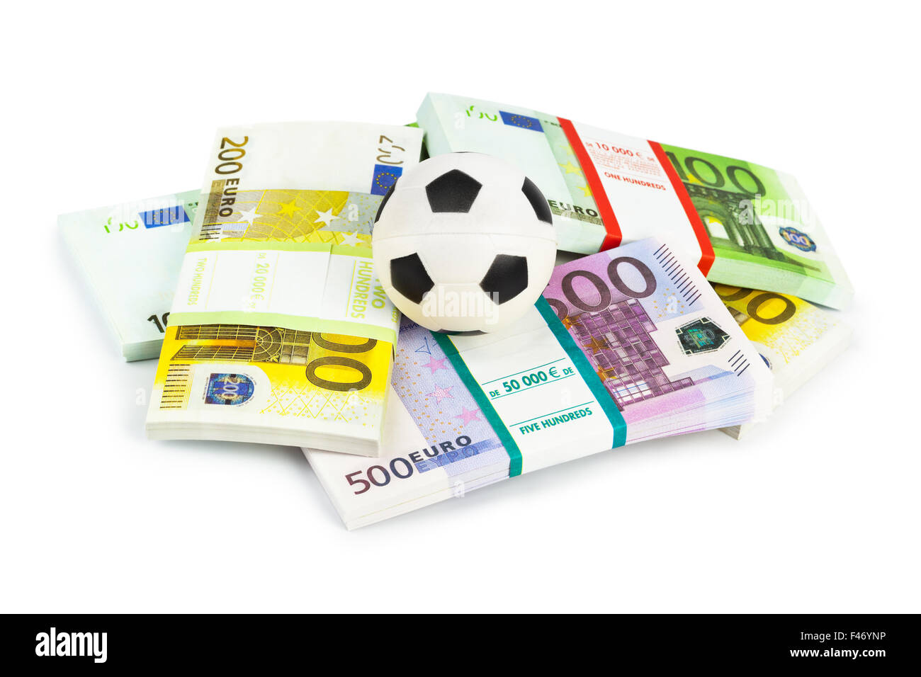 L'argent et le soccer ball Photo Stock
