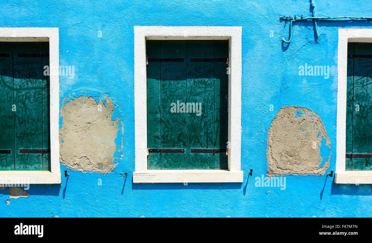 Porte, fenêtre, volet bleu, vieux, la gloire, la Chambre, bleu, vert ...