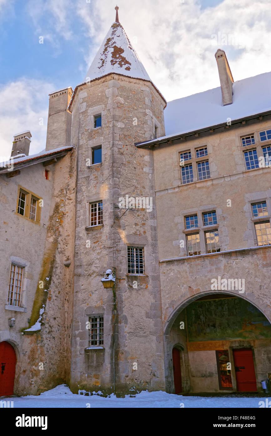 Gruyère, SUISSE - 31 décembre 2014: Château de Gruyères en Suisse Banque D'Images