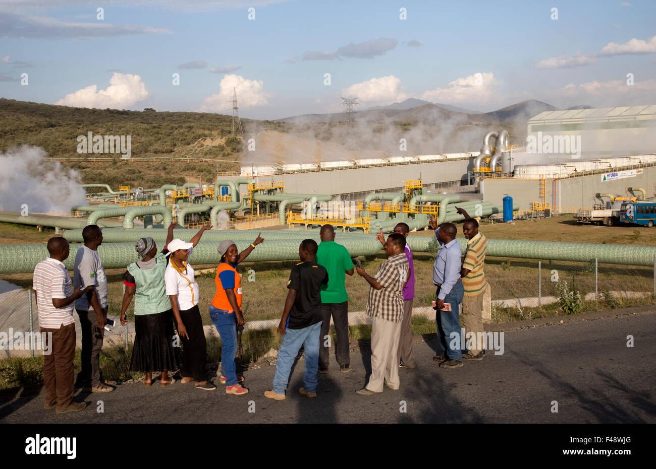 280MW d'énergie géothermique Olkaria Hell's Gate de l'usine de la vallée du Rift au Kenya Photo Stock