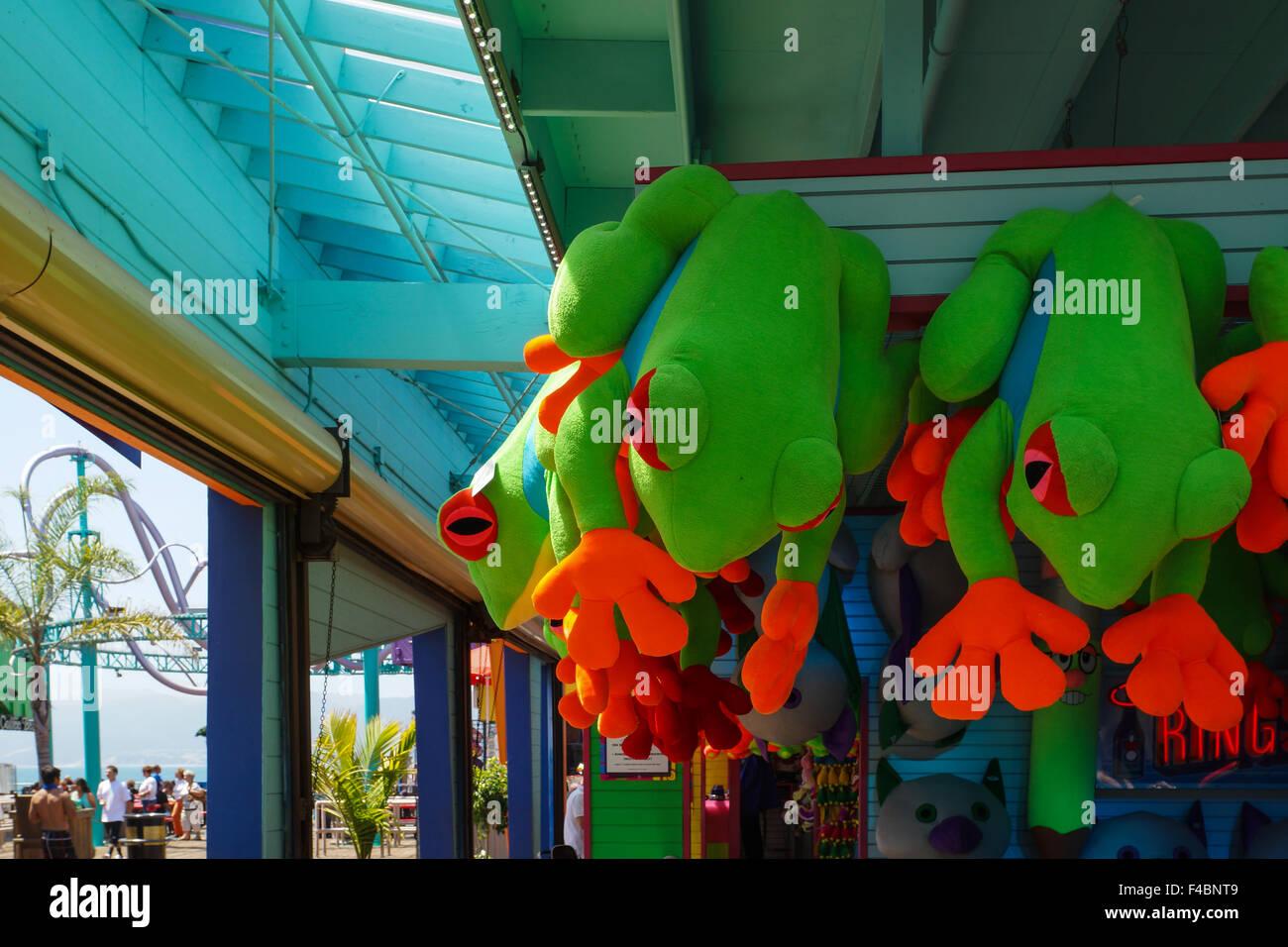 Grenouille peluche à Santa Monica Pier Photo Stock