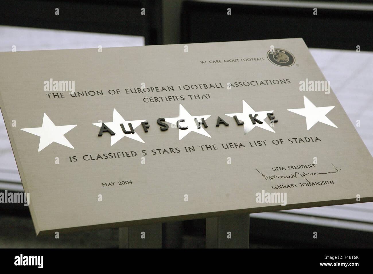 Veltins Arena, 5 étoiles, de l'Allemagne certificat Photo Stock