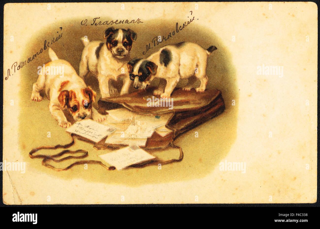Retro photo carte postale avec l'inscription des noms des amis de l'école, vers 1900, la Russie Photo Stock