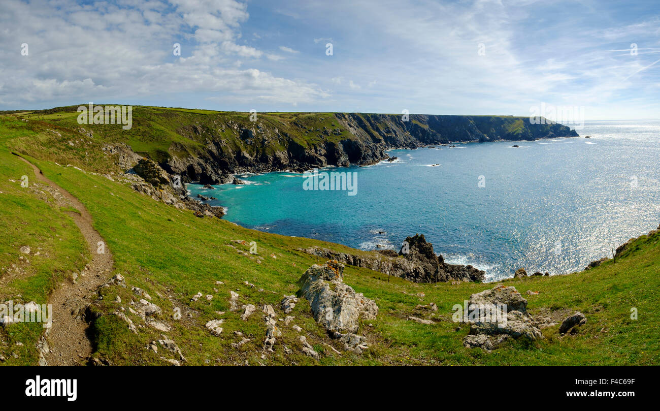 South West Coast Path, Péninsule du Lézard, Cornwall, England, UK Photo Stock