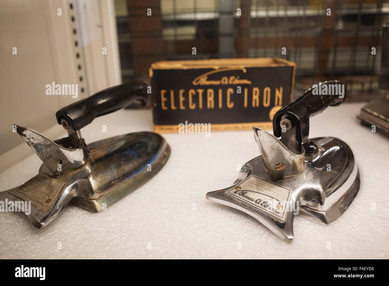 USA, New Jersey, West Orange, Thomas Edison National Historical Park, de l'intérieur, début de l'Edison Electric fer à repasser Banque D'Images