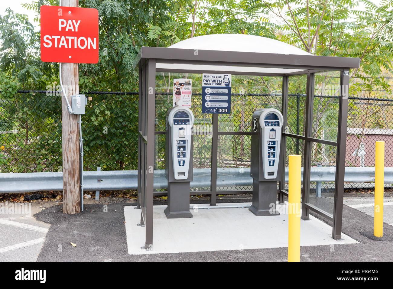 Un parking de l'espace au service d'une station de payer les inhalateurs sort à la Gare du Nord de Photo Stock