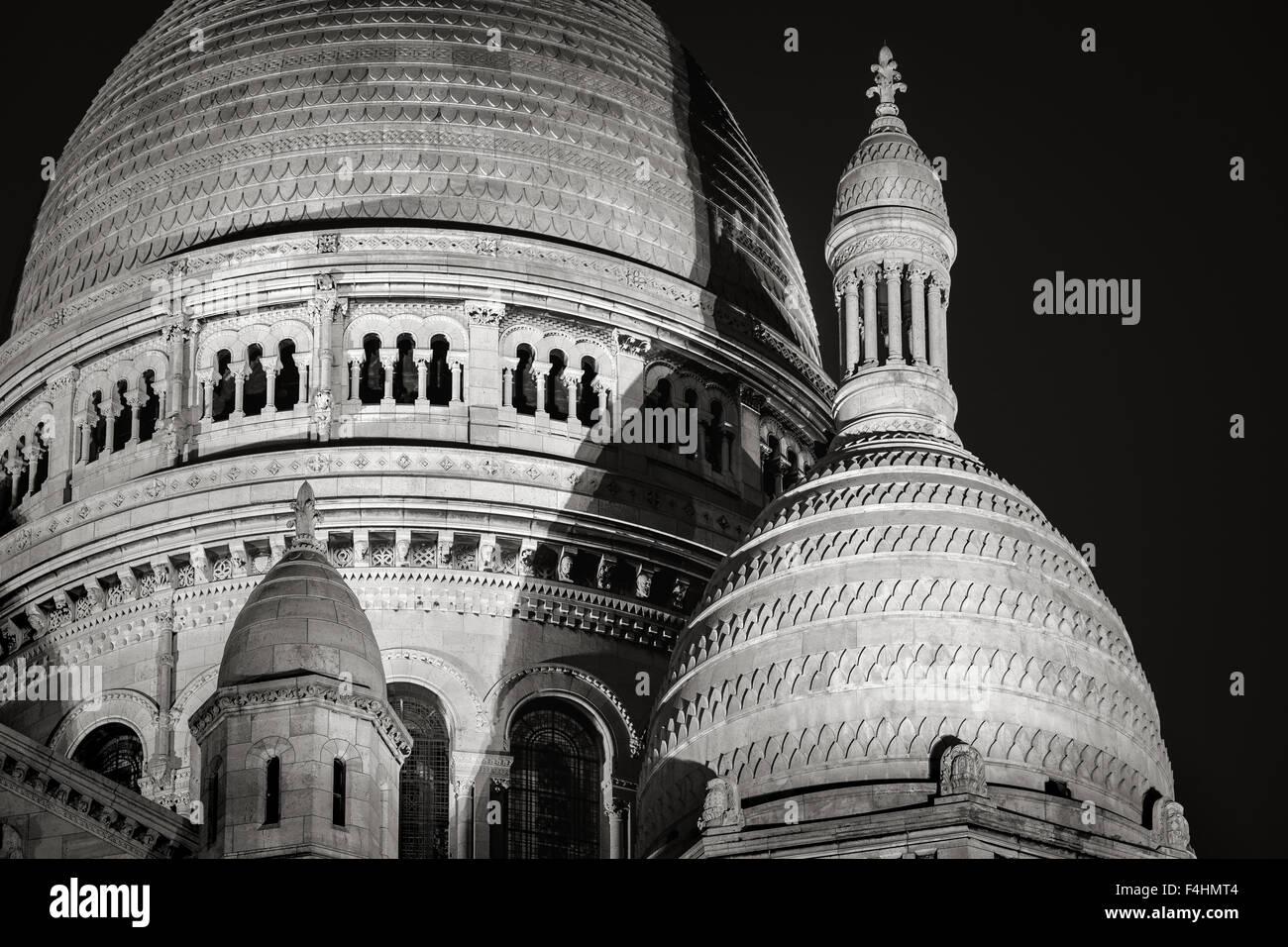 Détail des dômes de la Basilique du Sacré-Cœur (Basilique du Sacré Coeur) la nuit, Montmartre, Photo Stock