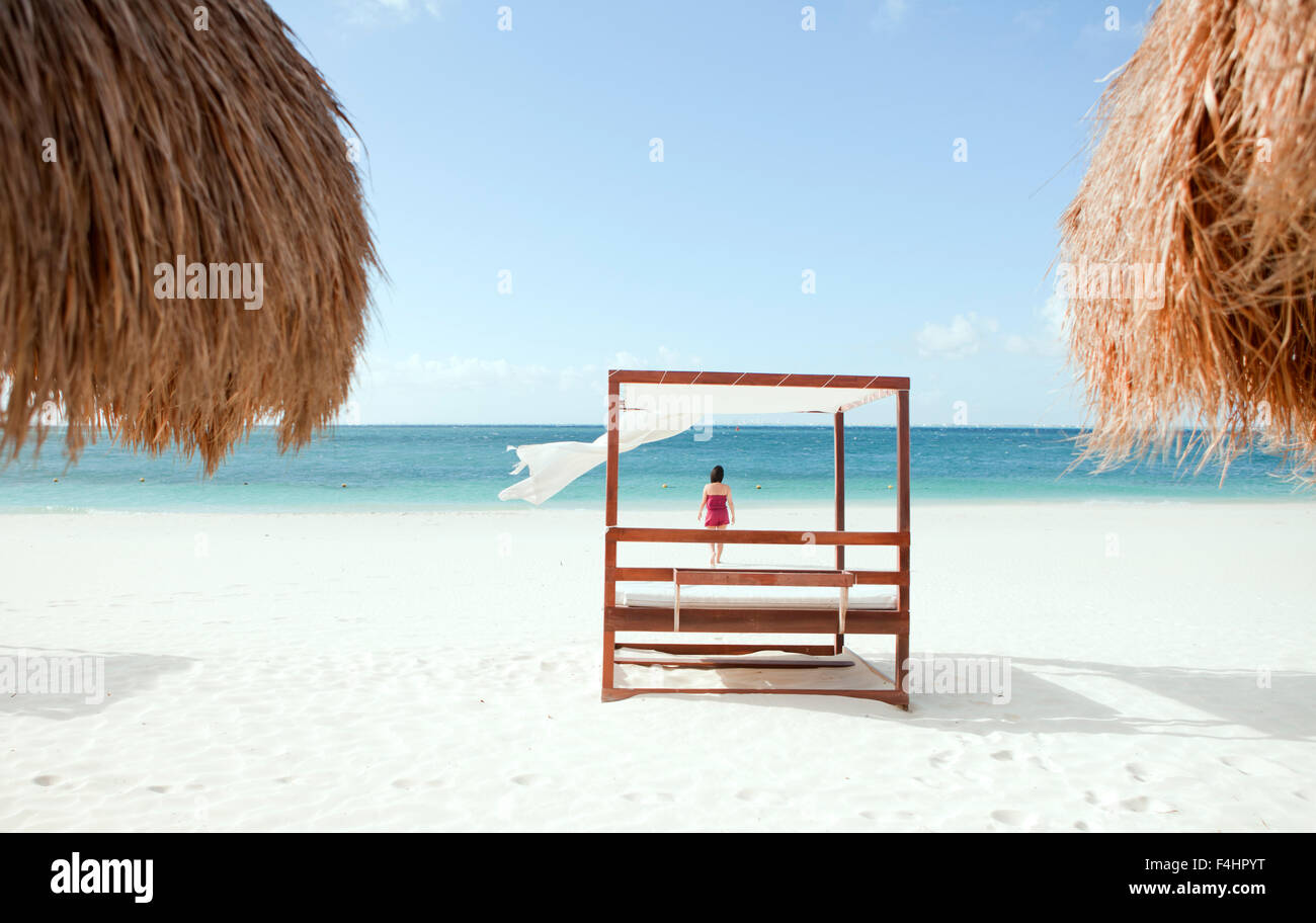 La plage principale d'Isla Mujeres, une île au large de Cancun, Quintana Roo, Mexique. Photo Stock