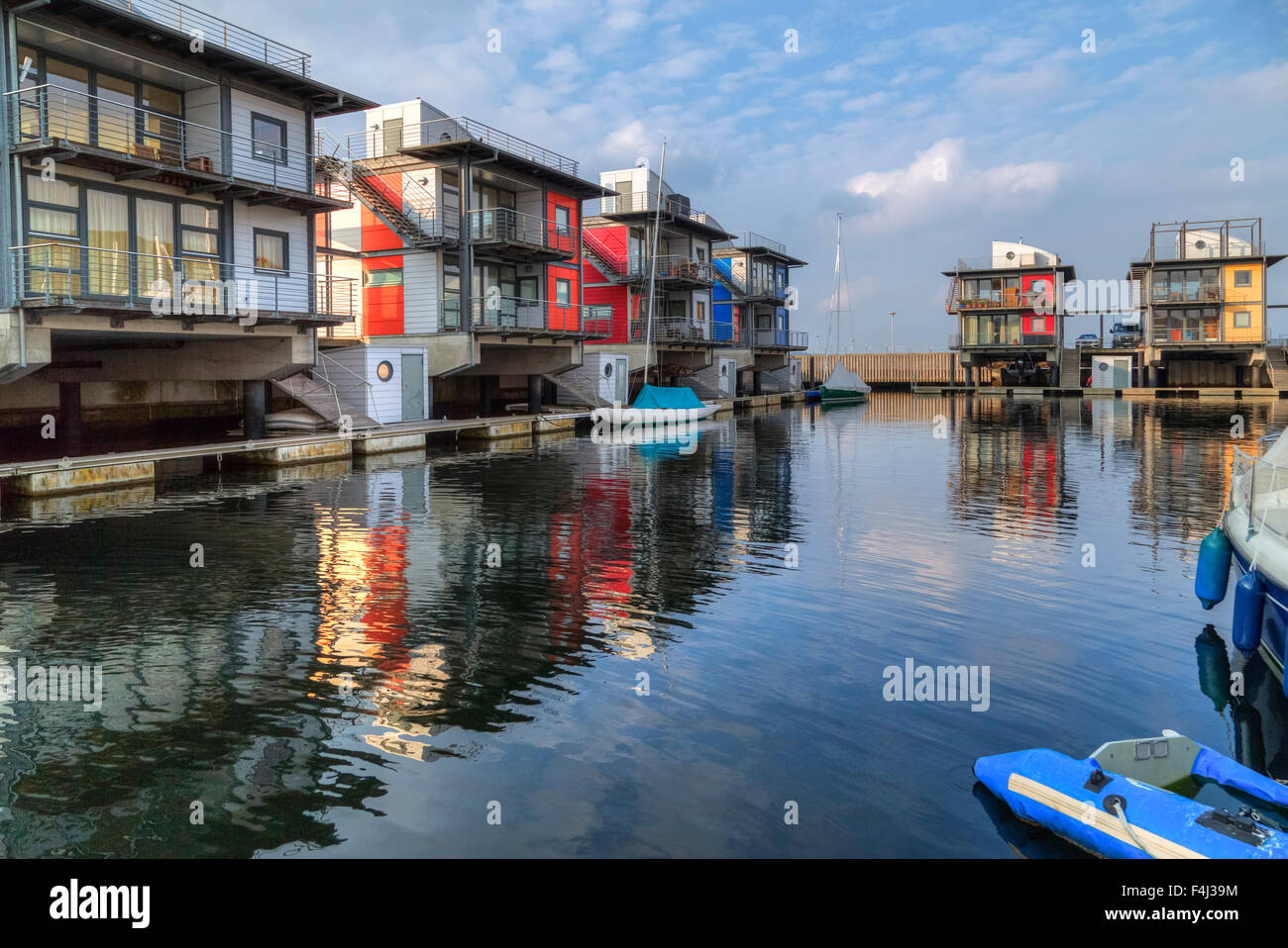 Flensburg, Sonwik l'eau, maisons, Schleswig-Holstein, Allemagne Photo Stock