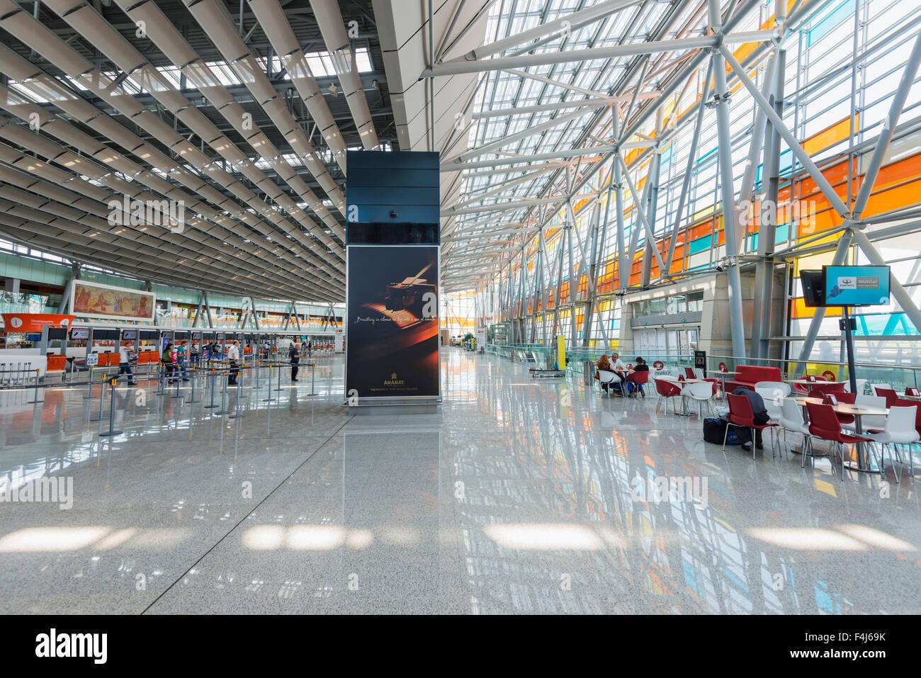 Zone de départ, l'Aéroport International de Zvartnots, Erevan, Arménie, Caucase, Asie centrale, Photo Stock