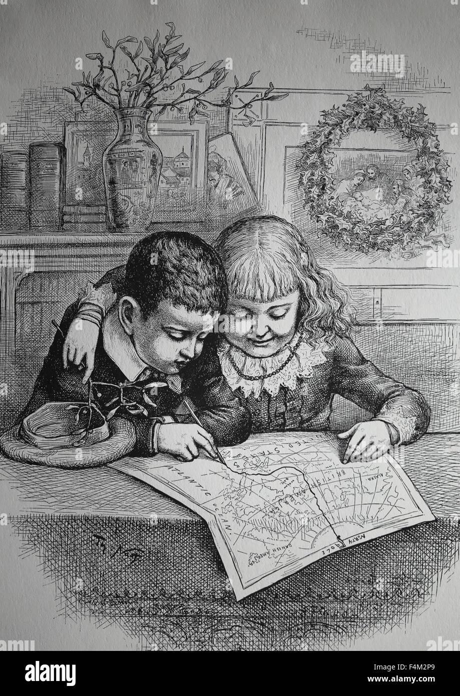 Noël. Le suivi des enfants Le Père Noël, la route du Pôle Nord. 1885 gravure par Thomas Nast. Photo Stock