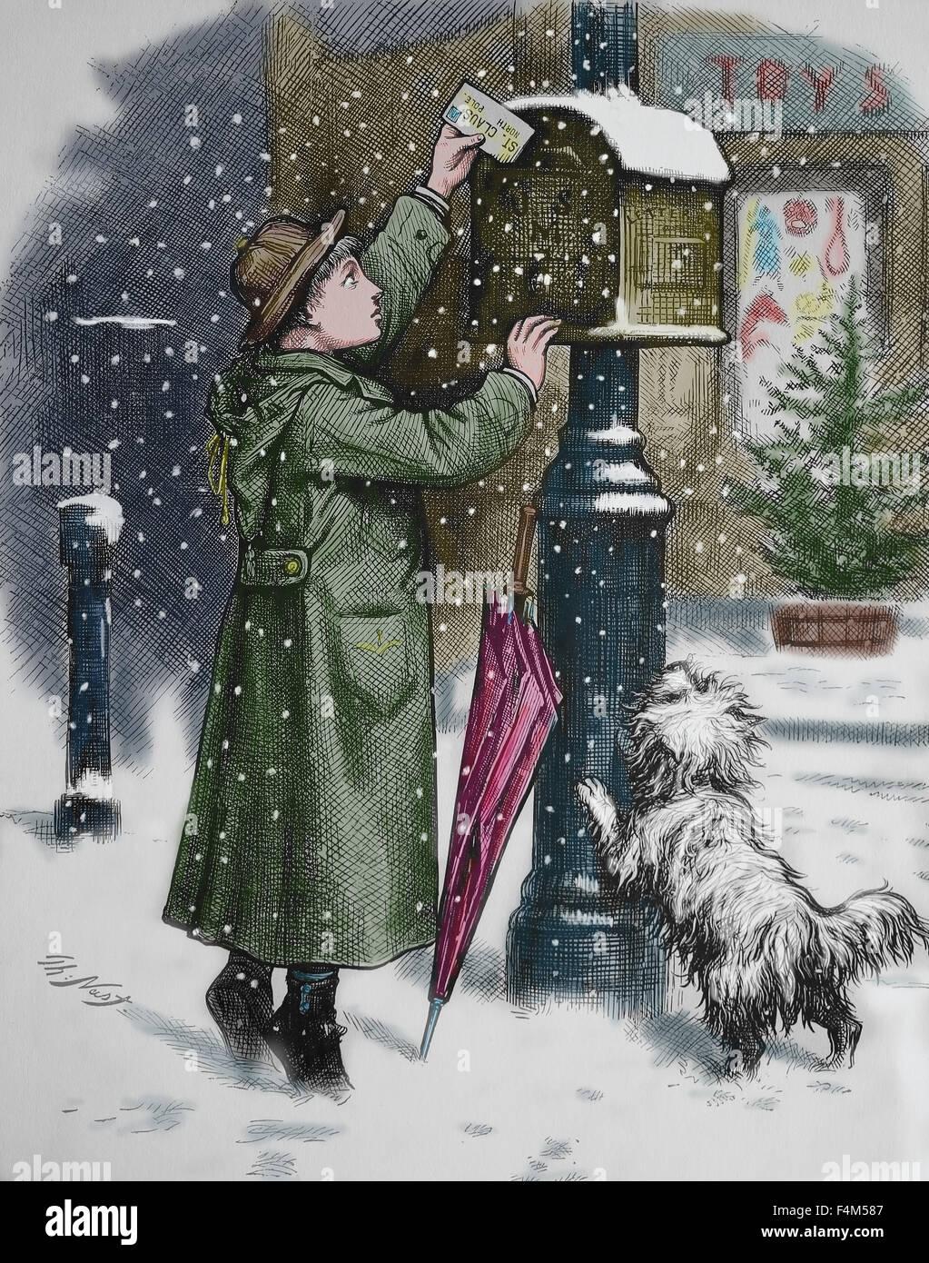 United States. 19e siècle. L'après Noël. Gravure de Thomas Nast. La couleur. Photo Stock