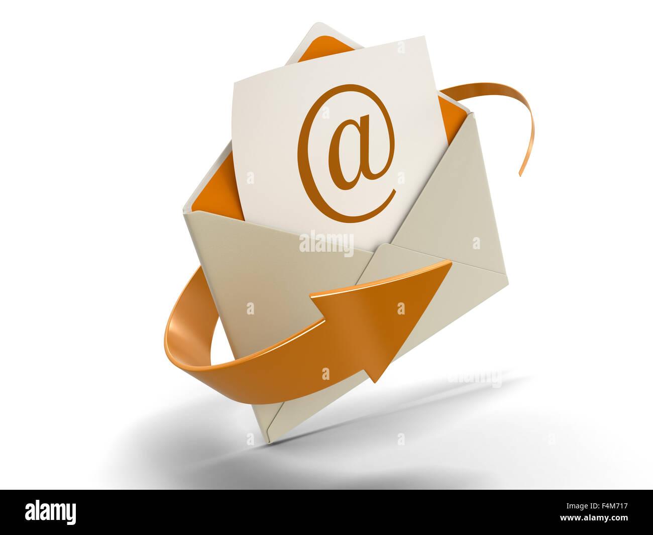Lettre E-mail (chemin inclus) Photo Stock