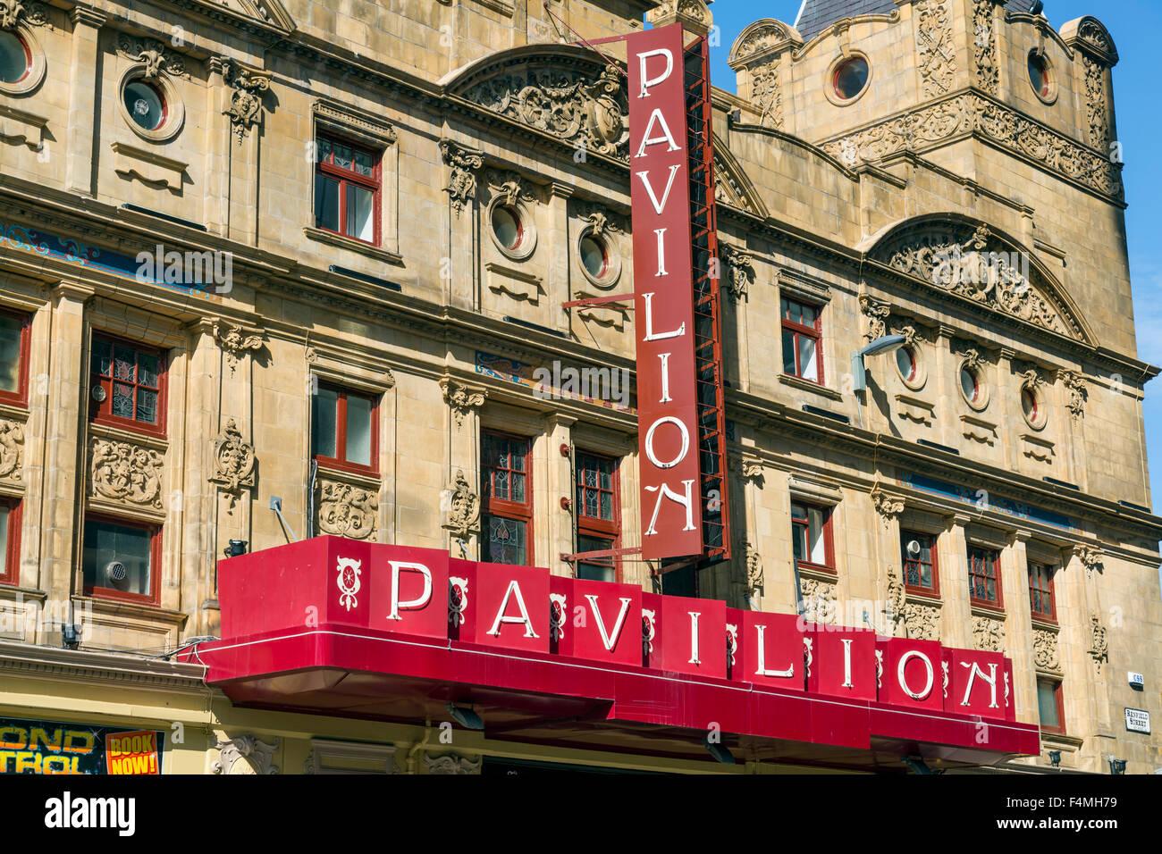 Panneau Pavilion Theatre, Renfield Street, centre-ville de Glasgow, Écosse, Royaume-Uni Banque D'Images
