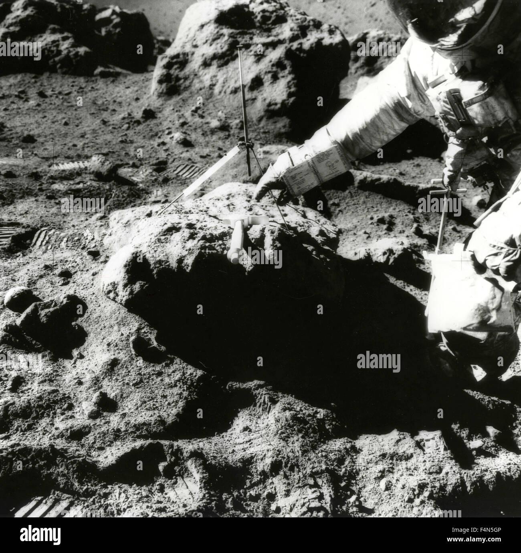 Le trou de l'astronaute David Scott sur la lune, Apollo 15, la Lune Photo Stock