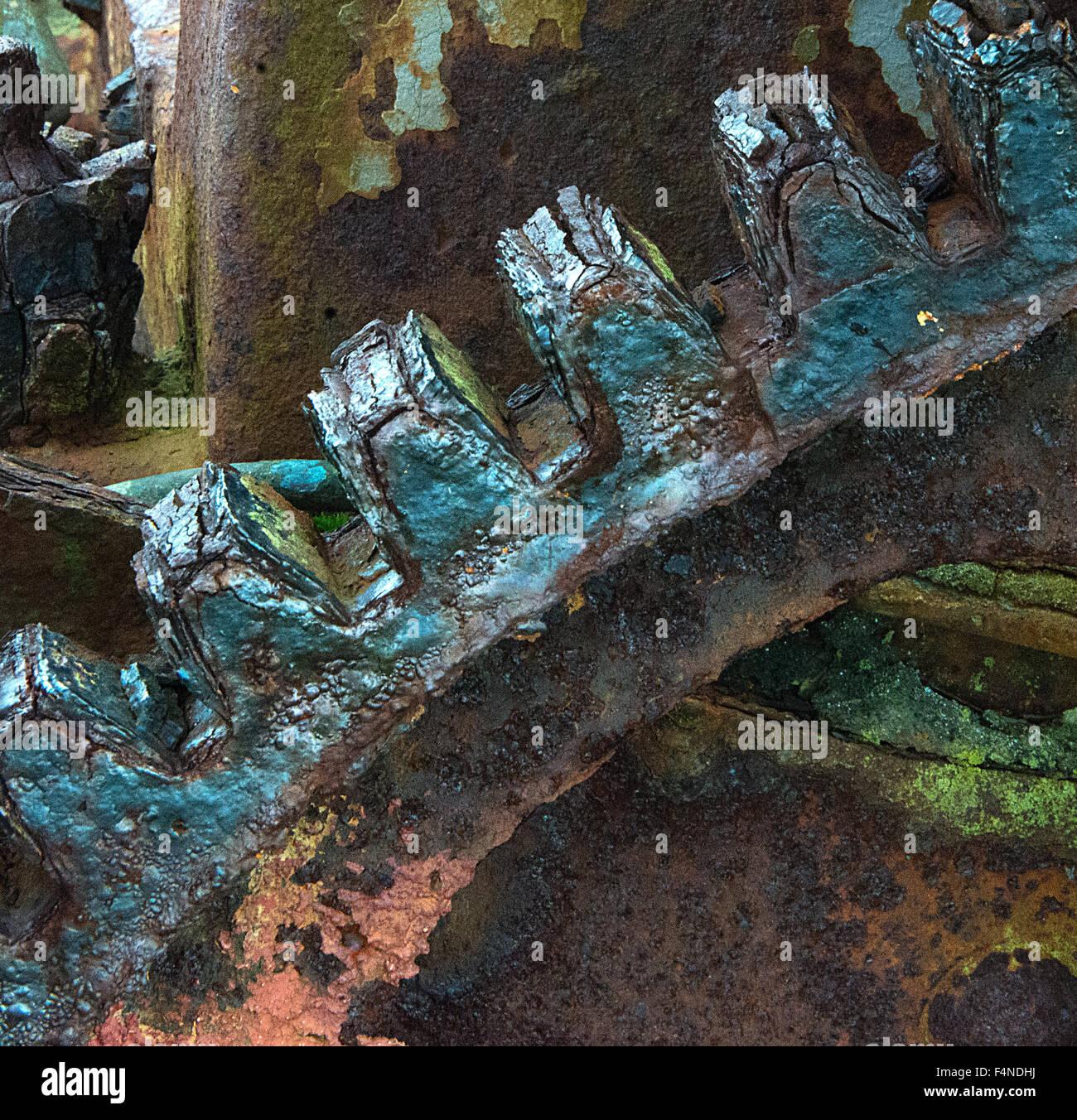 Ancien moteur sur Papa Westray, Orkney détail 4 Photo Stock