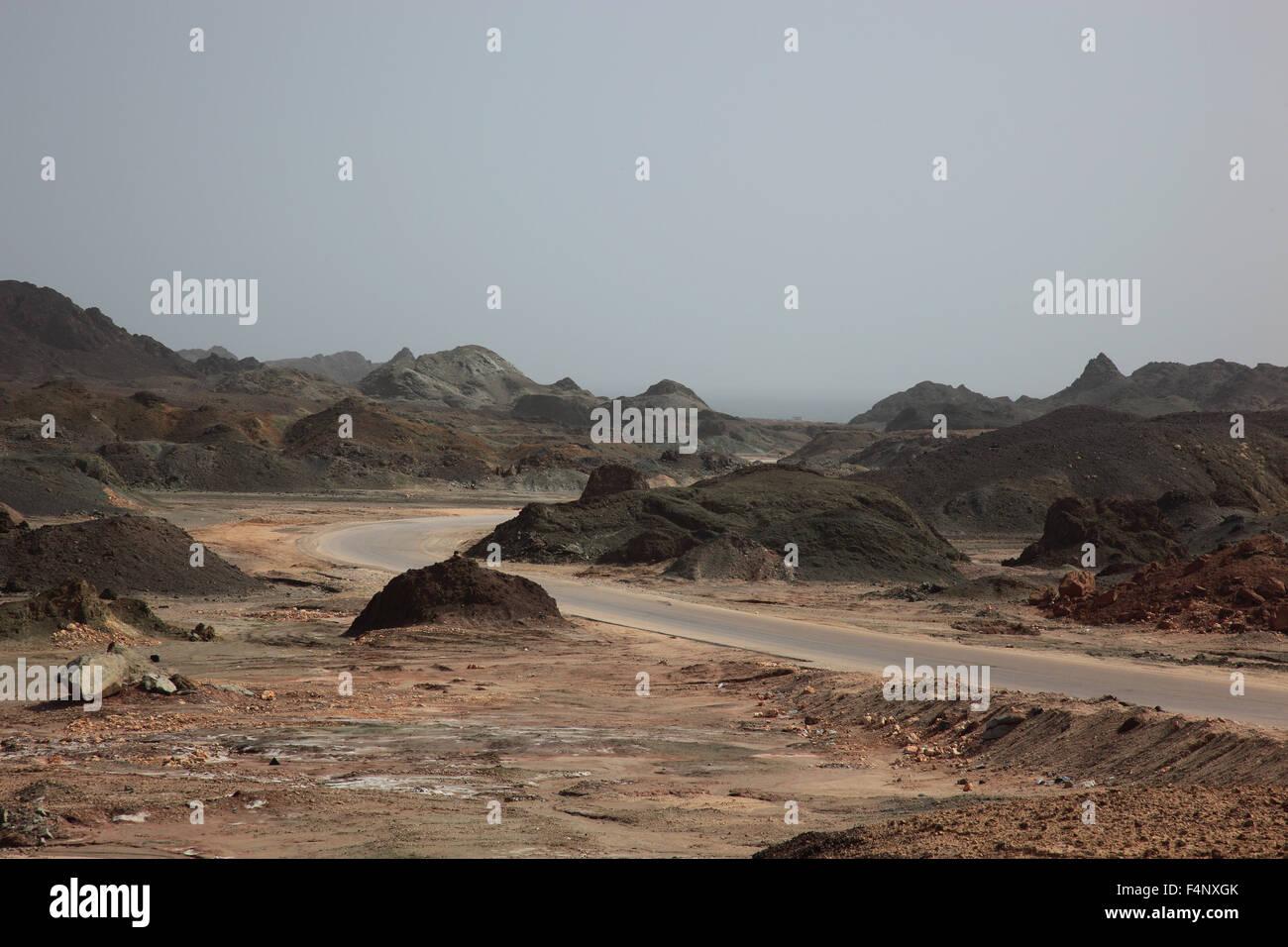 Paysages de la région de la chaîne de montagnes du Dhofar, au sud de l'Oman Photo Stock