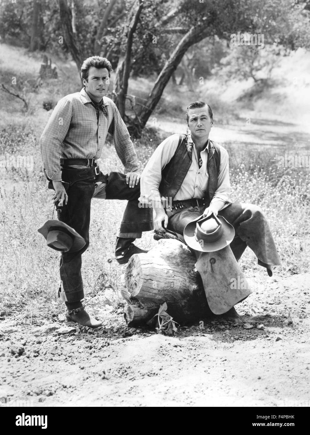 Clint Eastwood, Eric Fleming / Rawhide T.V. 1959 Photo Stock