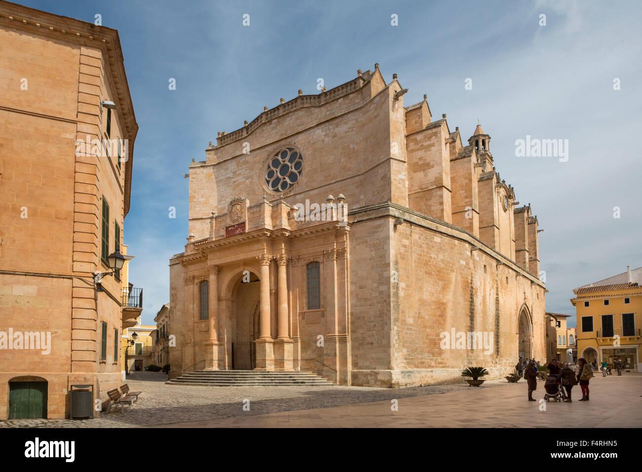 Ciutadella, Minorque, Baléares, printemps, l'architecture, de la cathédrale, le centre-ville, de la Photo Stock