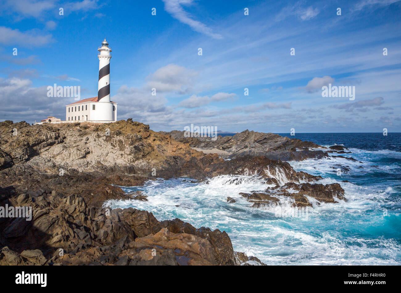 Îles Baléares, Favaritx, Paysage, Minorque, Baleares, Espagne, Europe, le ressort, l'architecture, Photo Stock