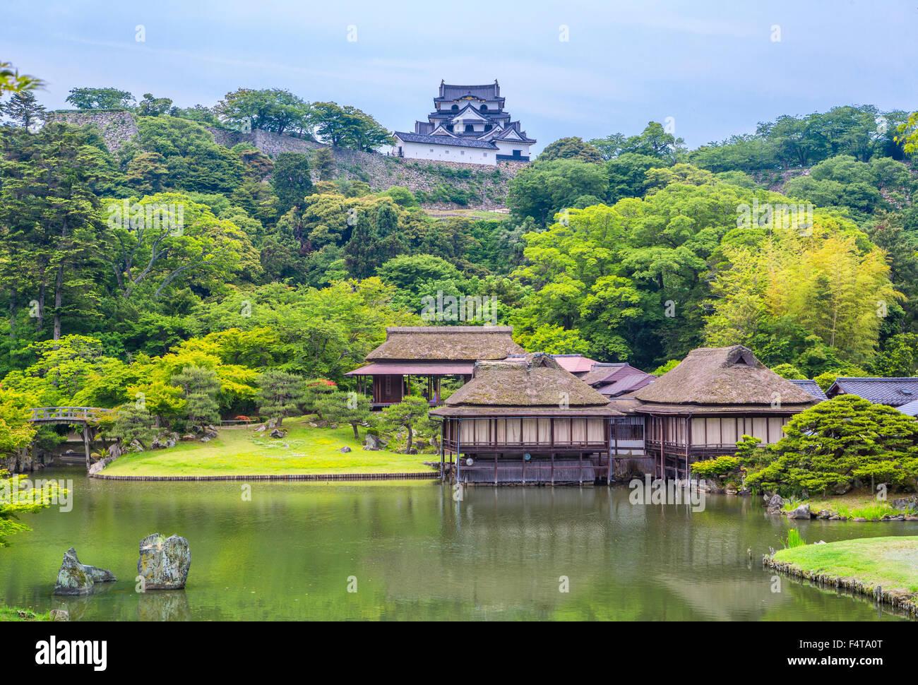 Le Japon, la Province de Shiga, maisons de thé, Ville Hikone Hikone et château Photo Stock