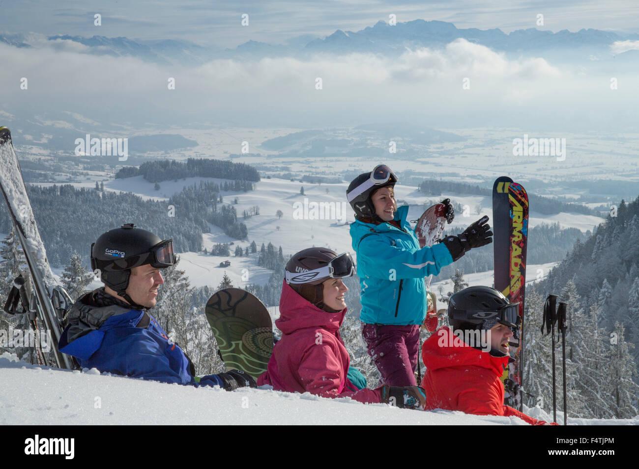 Les sports d'hiver en Atzmännig Photo Stock
