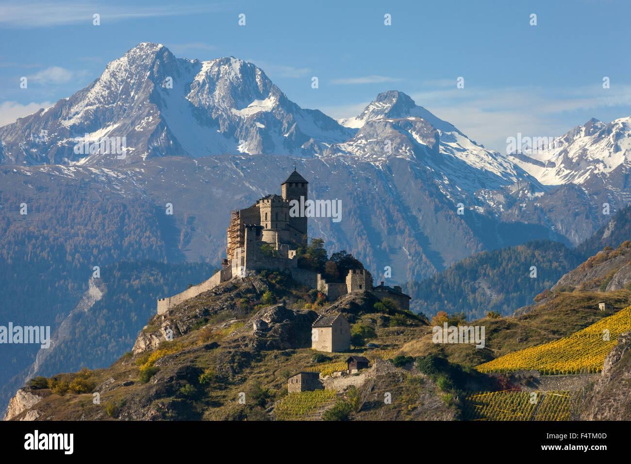 Sion, les douanes, Valeria, Suisse, cantons, Valais, Castle Hill, Photo Stock