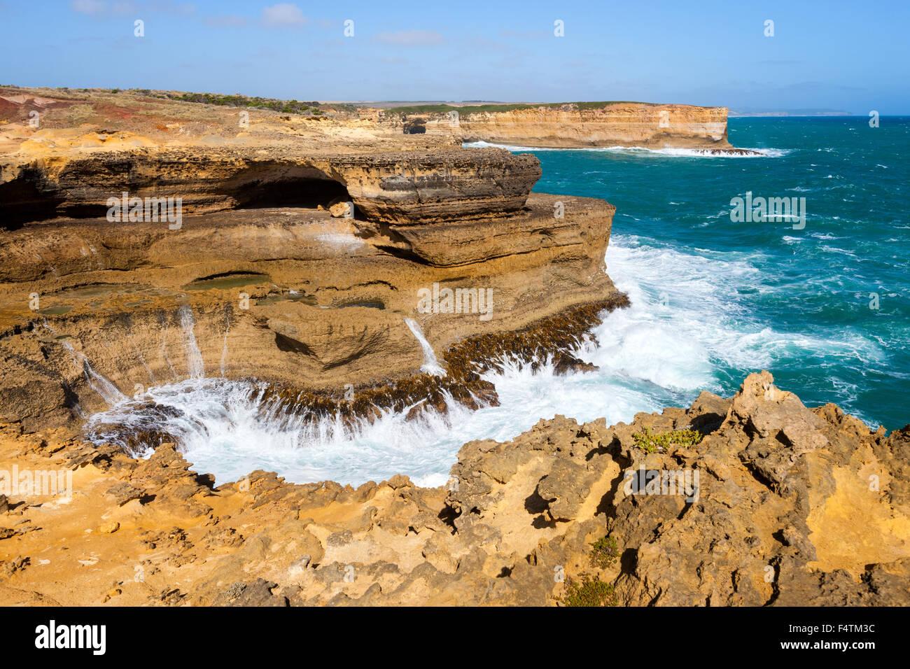Broken Head, l'Australie, Victoria, port Campbell, parc national, mer, côte, rock, falaise, Photo Stock