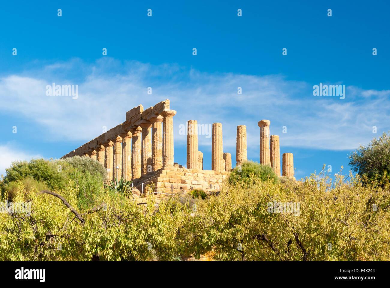 Le temple grec de Junon derrière d'amandiers, dans la Vallée des Temples d'Agrigente Photo Stock