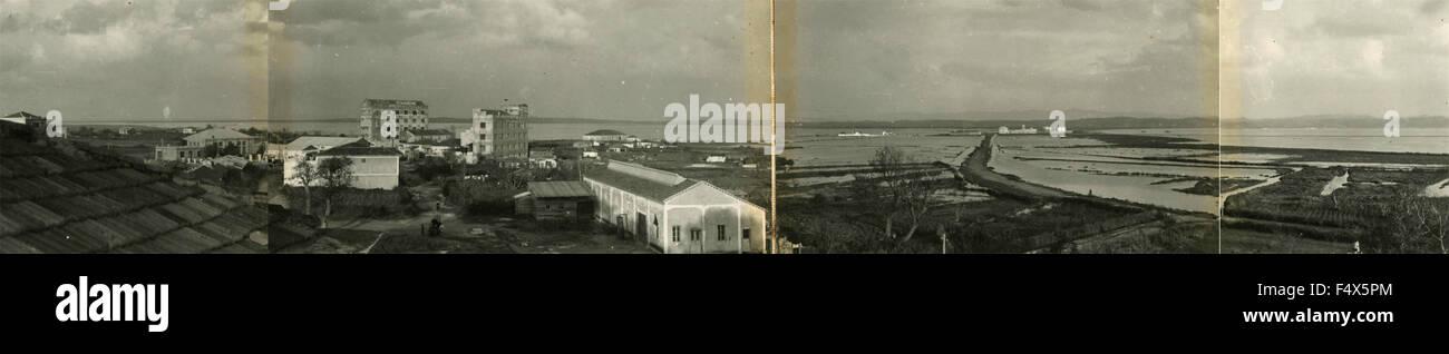 Photographie panoramique avec la technologie des années 30, littoral, Italie Photo Stock