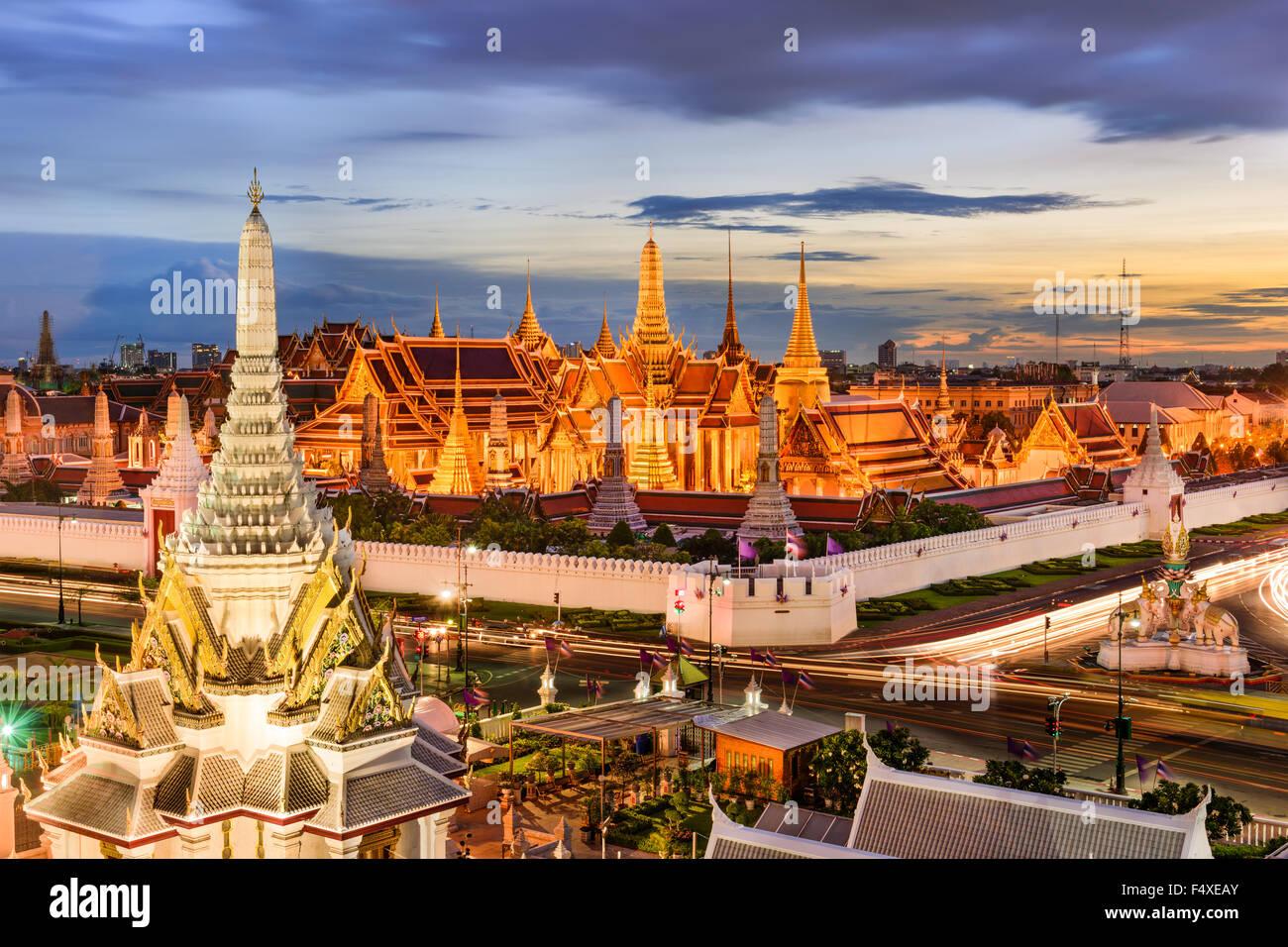 Bangkok, Thaïlande au Temple du Bouddha d'Émeraude et Grand Palais. Banque D'Images